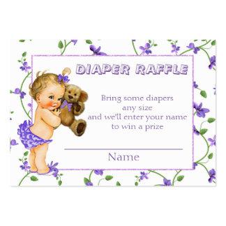 Rifa del pañal de la fiesta de bienvenida al bebé tarjetas de visita grandes