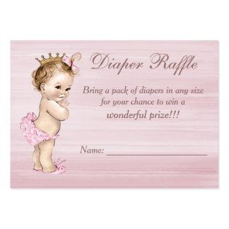 Rifa del pañal de la princesa fiesta de bienvenida tarjetas de visita grandes