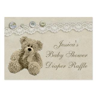 Rifa del pañal del cordón del vintage del oso de tarjetas de visita grandes