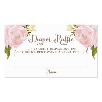 Rifa romántica del pañal de los Peonies del rosa Tarjetas De Visita