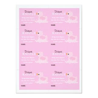 """Rifa rosada del pañal del pato invitación 6.5"""" x 8.75"""""""