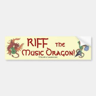 Riff el dragón de la música etiqueta de parachoque