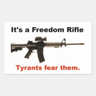 Rifle de la libertad pegatina rectangular