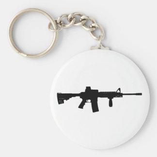 Rifle negro AR-15 del arte de Phil en línea Llavero Redondo Tipo Pin