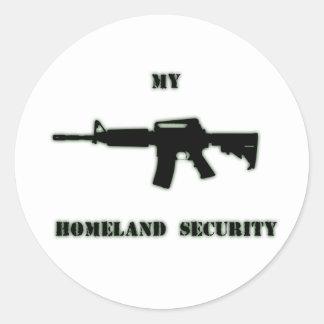 Rifle negro AR-15 del arte de Phil en línea Etiqueta Redonda