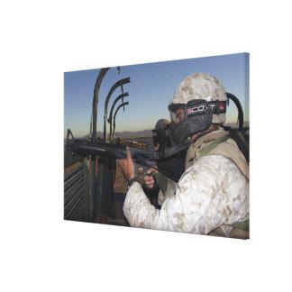 Rifleman keeps alert canvas print