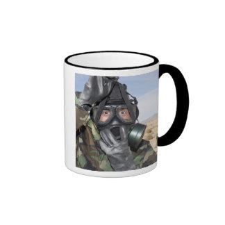Rifleman puts on his gas mask coffee mug