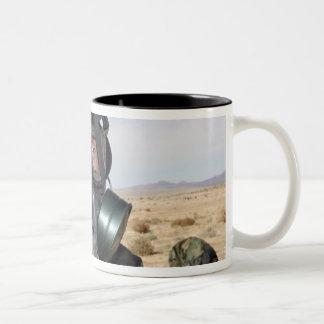 Rifleman puts on his gas mask coffee mugs