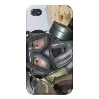 Rifleman puts on his gas mask iPhone 4 cover
