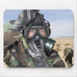 Rifleman puts on his gas mask mouse pads