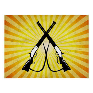 Rifles cruzados; amarillo posters