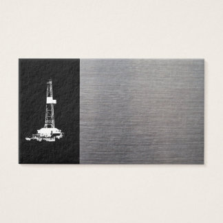 Rig Silhouette and Metal Look Business Card