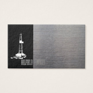 Rig Silhouette and Metal Look Oilfield Services Business Card