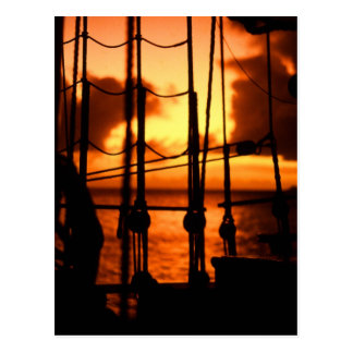Rigging in the sunset postcard