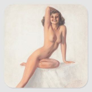 Right Arm on Head Pin Up Art Square Sticker