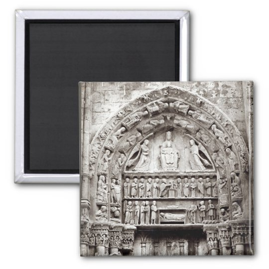 Right bay of the Royal Portal, mid-12th century 2 Inch Square Magnet