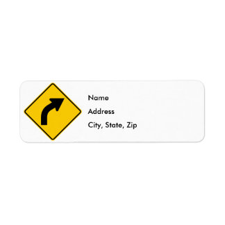 Right Curve Ahead Highway Sign Return Address Label