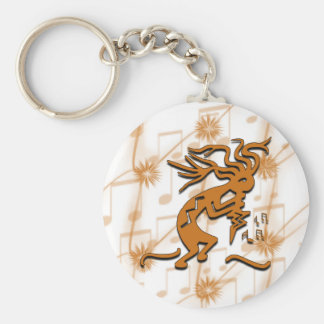 Right Facing Kokopelli Musician With Musical Notes Keychain