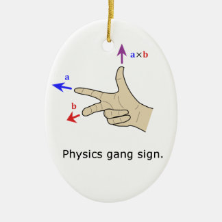 Right hand rule cross product Physics gang sign Ceramic Ornament