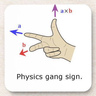 Right hand rule cross product Physics gang sign Drink Coaster