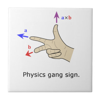 Right hand rule cross product Physics gang sign Tile