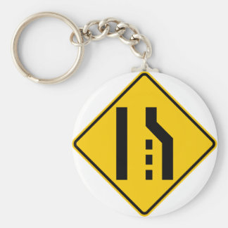 Right Lane Ends Highway Sign Keychain