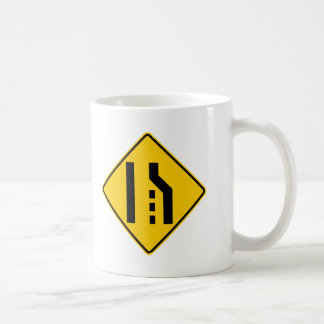 Right Lane Ends Highway Sign Mugs
