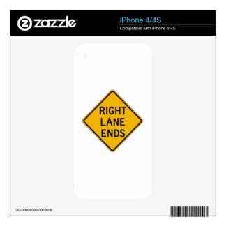 Right Lane Ends, Traffic Warning Sign, USA Skins For The iPhone 4S