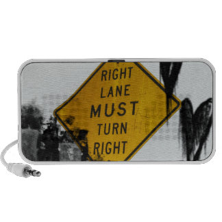 Right Lane Must Turn Right Sign PC Speakers
