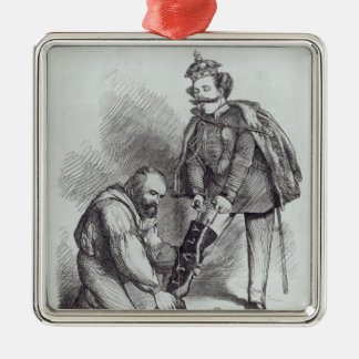 Right Leg in the Boot at Last' Square Metal Christmas Ornament