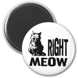Right MEOW! Funny Evil Kitty 2 Inch Round Magnet
