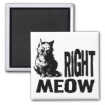 Right MEOW! Funny Evil Kitty 2 Inch Square Magnet