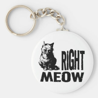 Right MEOW! Funny Evil Kitty Basic Round Button Keychain