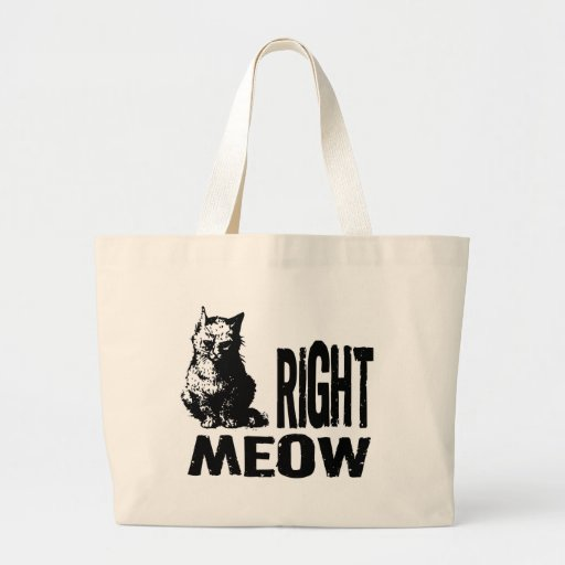 Right MEOW! Funny Evil Kitty Canvas Bags