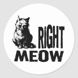 Right MEOW! Funny Evil Kitty Classic Round Sticker