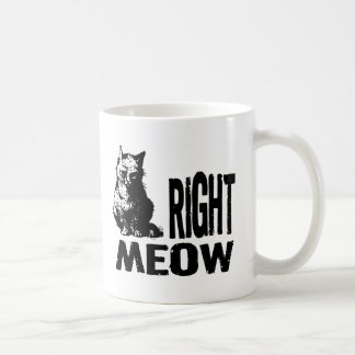 Right MEOW! Funny Evil Kitty Classic White Coffee Mug