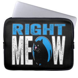 Right MEOW! Funny Kitty Cat Joke (Blue) Laptop Sleeve