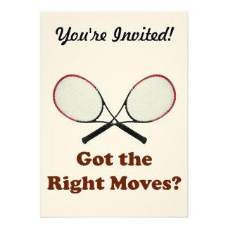Right Moves Tennis Personalized Invitation