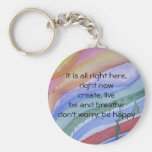 """right now"" watercolor keychain"