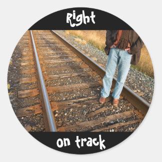 right on track classic round sticker