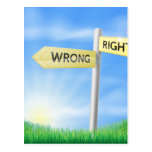 Right or wrong decision sign postcard