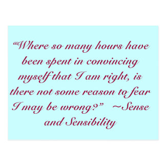 Right or Wrong Jane Austen Quote Postcard