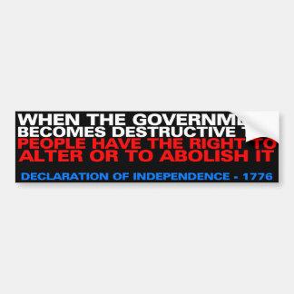 Right to alter or to abolish bumper sticker
