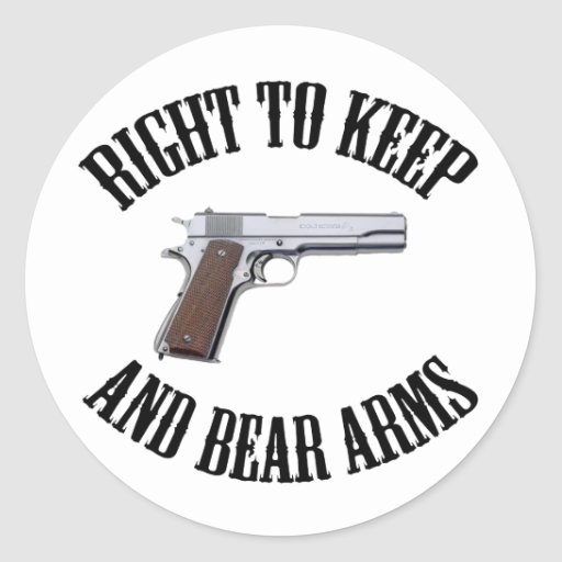Right To Keep And Bear Arms 1911 Round Stickers