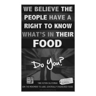 """Right to Know Poster B/W - 11x18"""" - LabelGMOs.org"""
