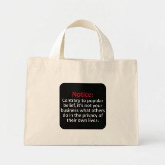 Right to privacy mini tote bag