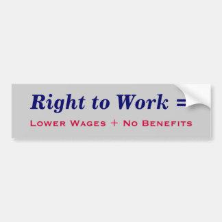 Right to Work Bumper Sticker