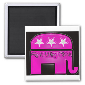 Right Wing Chick 2 Inch Square Magnet