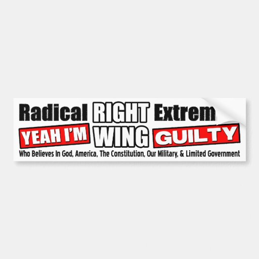 Right Wing Extremist! Car Bumper Sticker