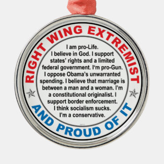 Right Wing Extremist Metal Ornament